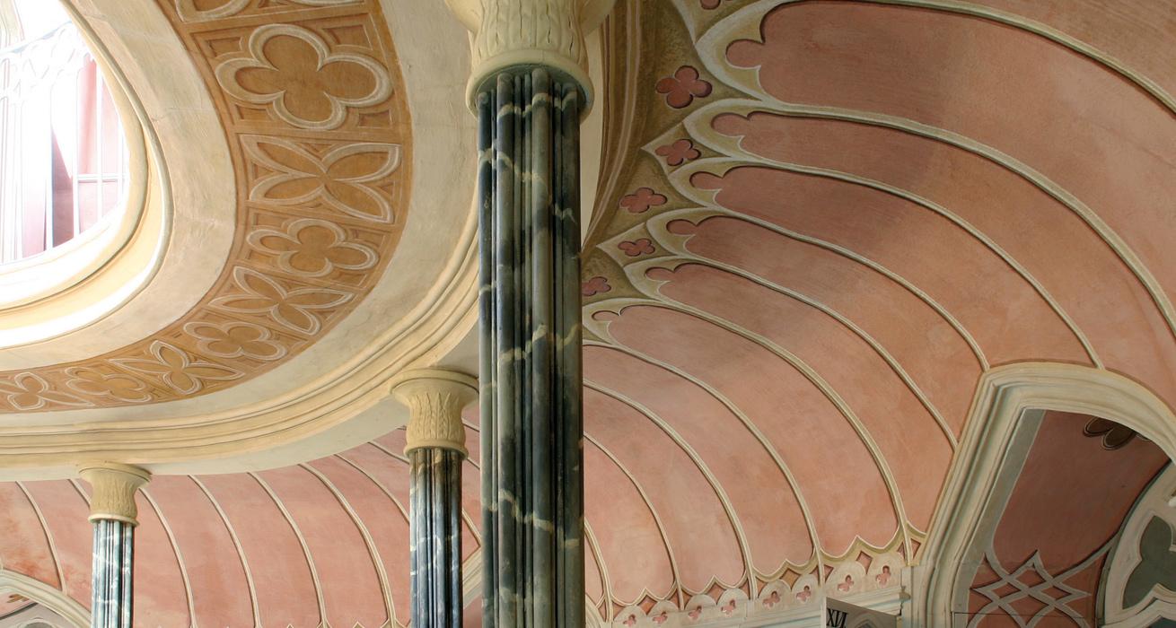 Decke restauriert- Bibliothek Schloss Wolkenburg