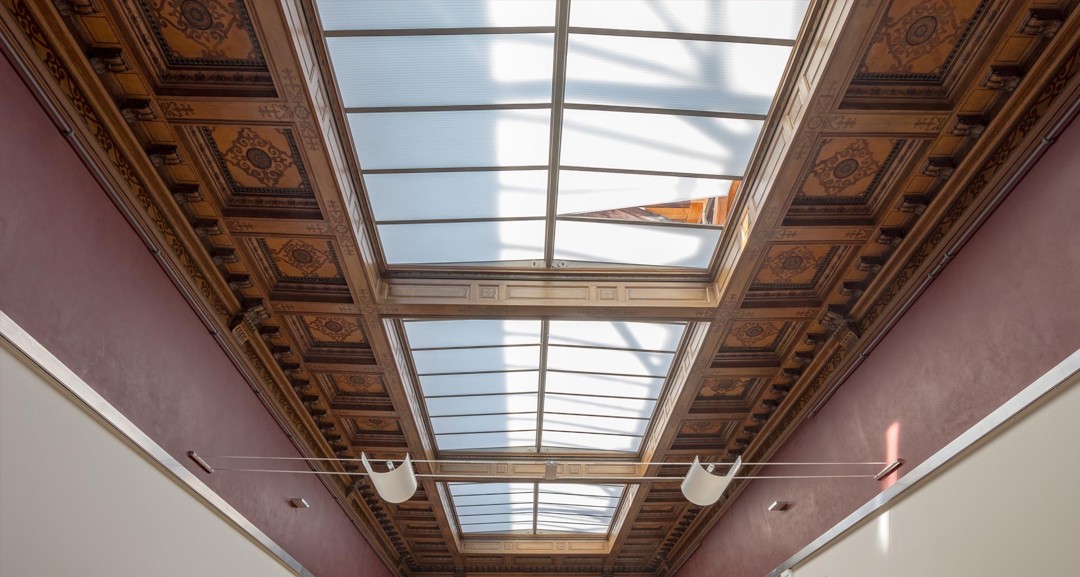 Blick entlang der Kassettendecke – Schlusszustand - Galerie am Domhof Zwickau