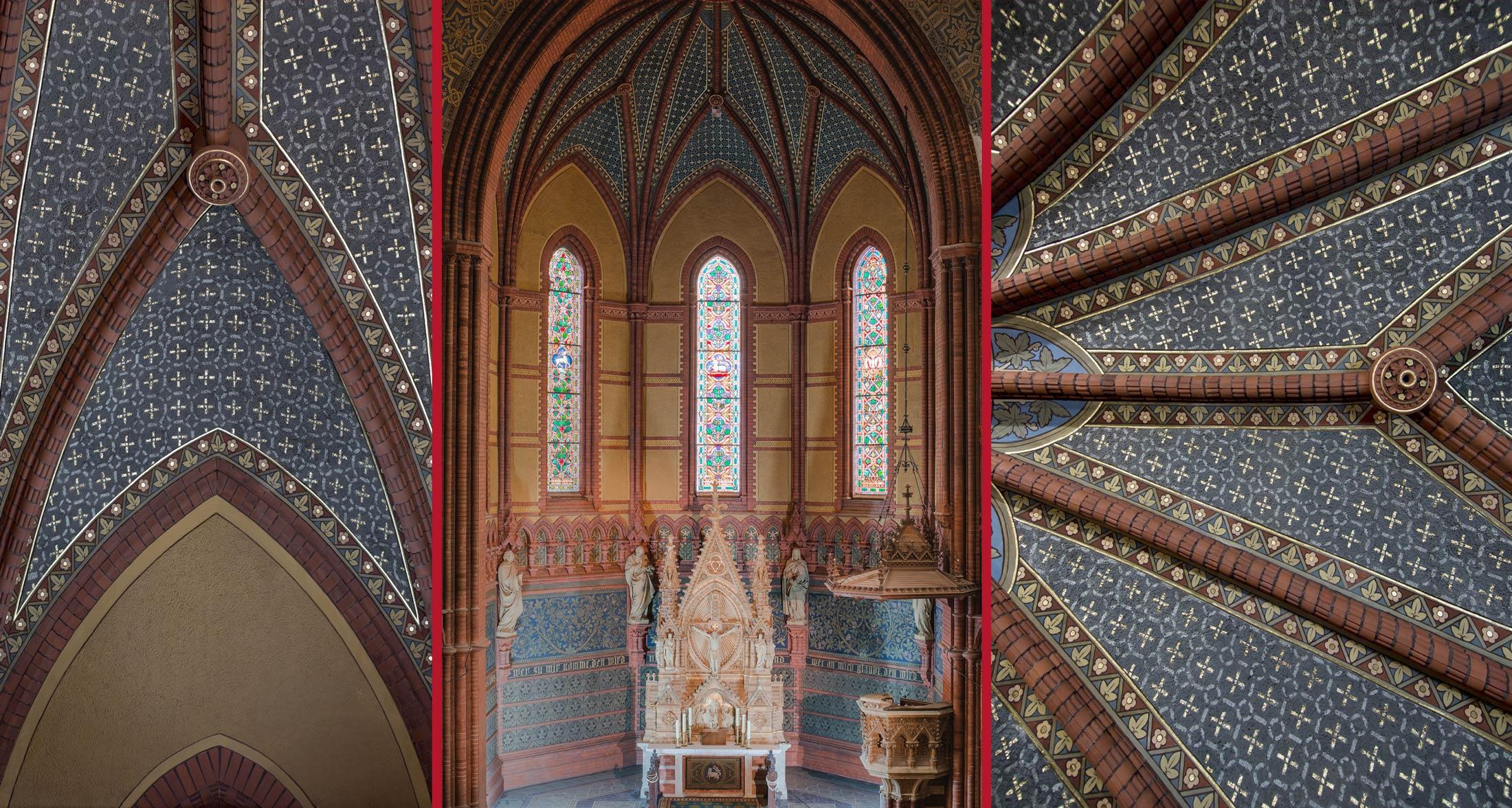 Gesamtansicht des Chores (Mitte), Fertiggestelltes Chorgewölbe (li/re) - Lutherkirche Apolda