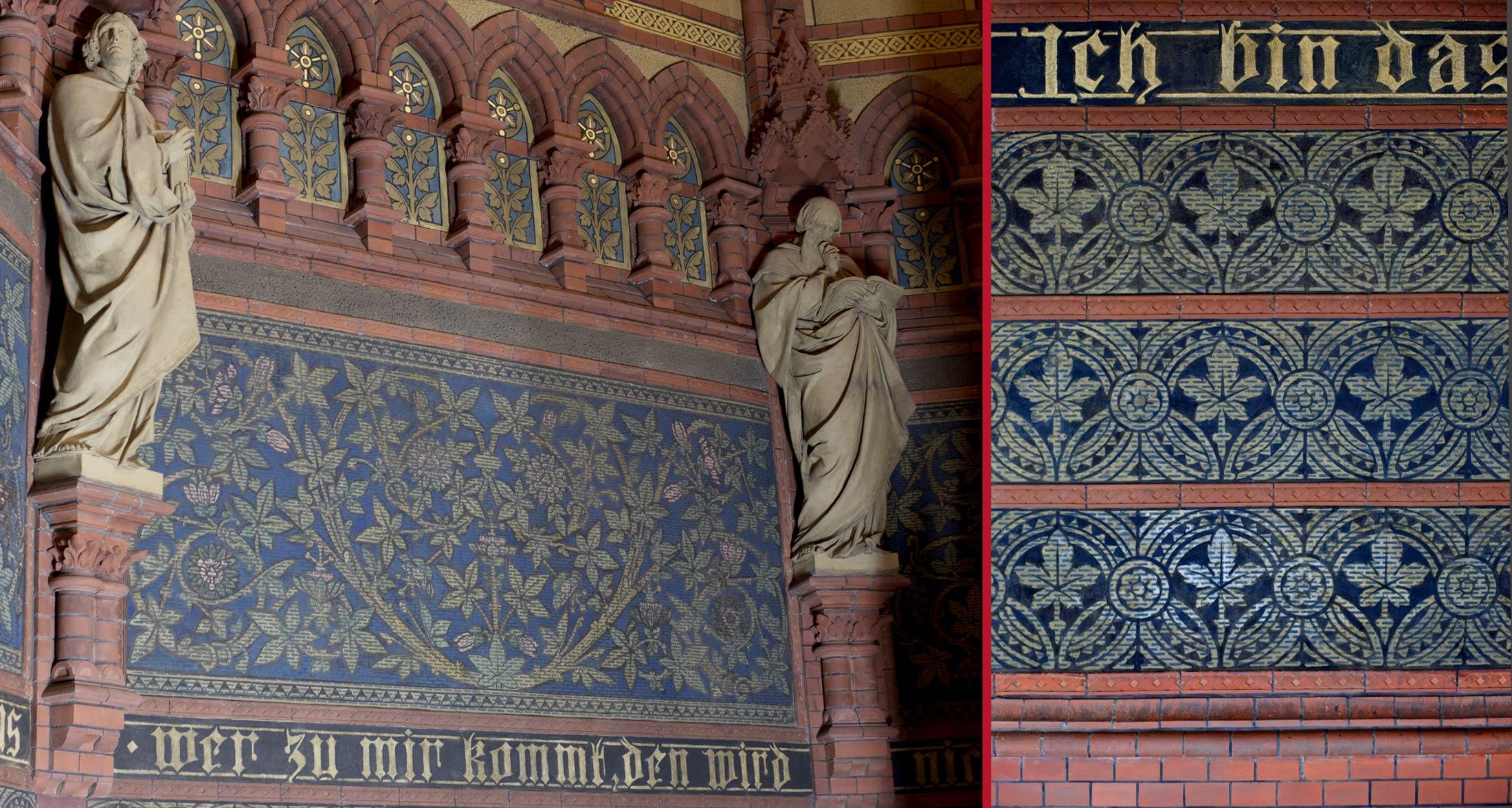 Evangelistenfiguren im Schlusszustand (li), restauriertes Sgraffittofeld (re) - Lutherkirche Apolda