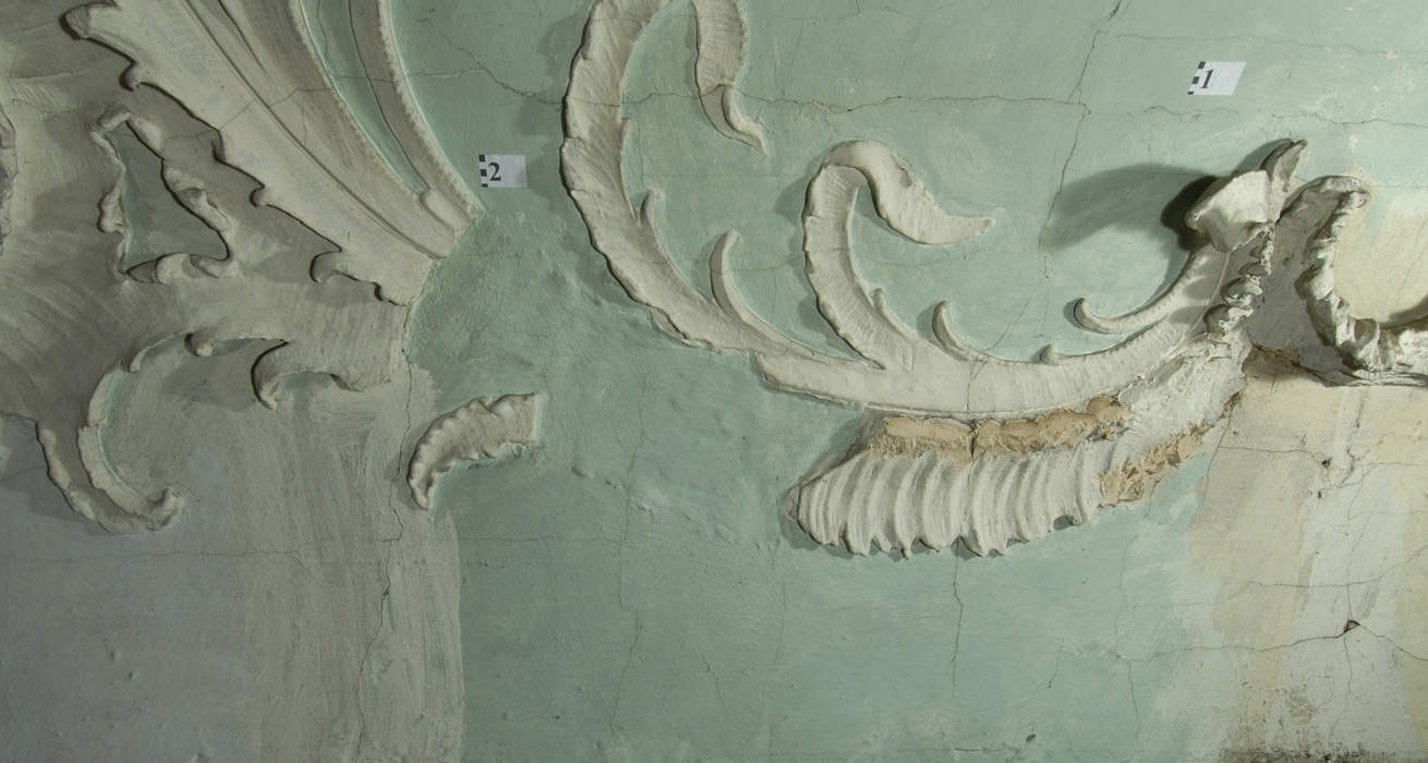Restaurierung Stuckteile vorher - St. Jakobus, Burgwindheim