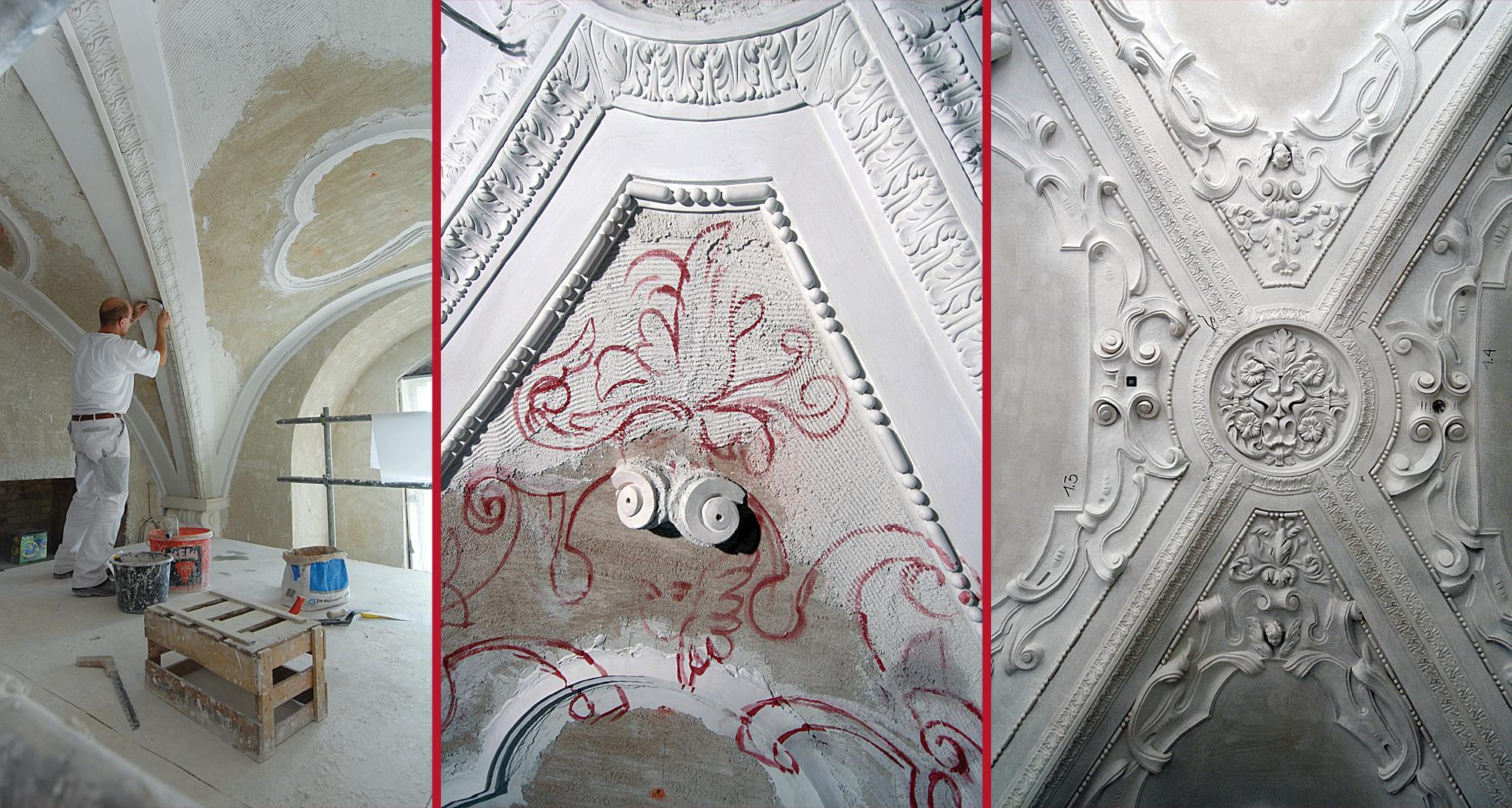 Entwicklung vom vorbereiteten Untergrund zur fertigen Stuckdekoration - Neues Schloss Bad Muskau