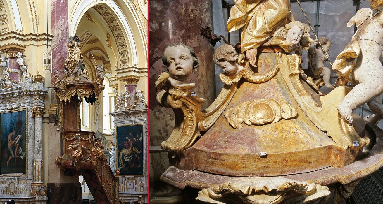 Kanzelgesamtansicht und Detail im Schlusszustand - Restaurierung Pfarrkirche Ebrach