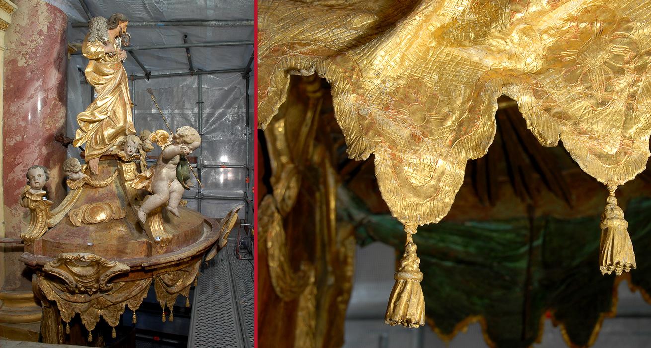 Gesamtansicht Schalldeckel und Lambrequin mit rekonstruierten Troddeln - Restaurierung Pfarrkirche Ebrach