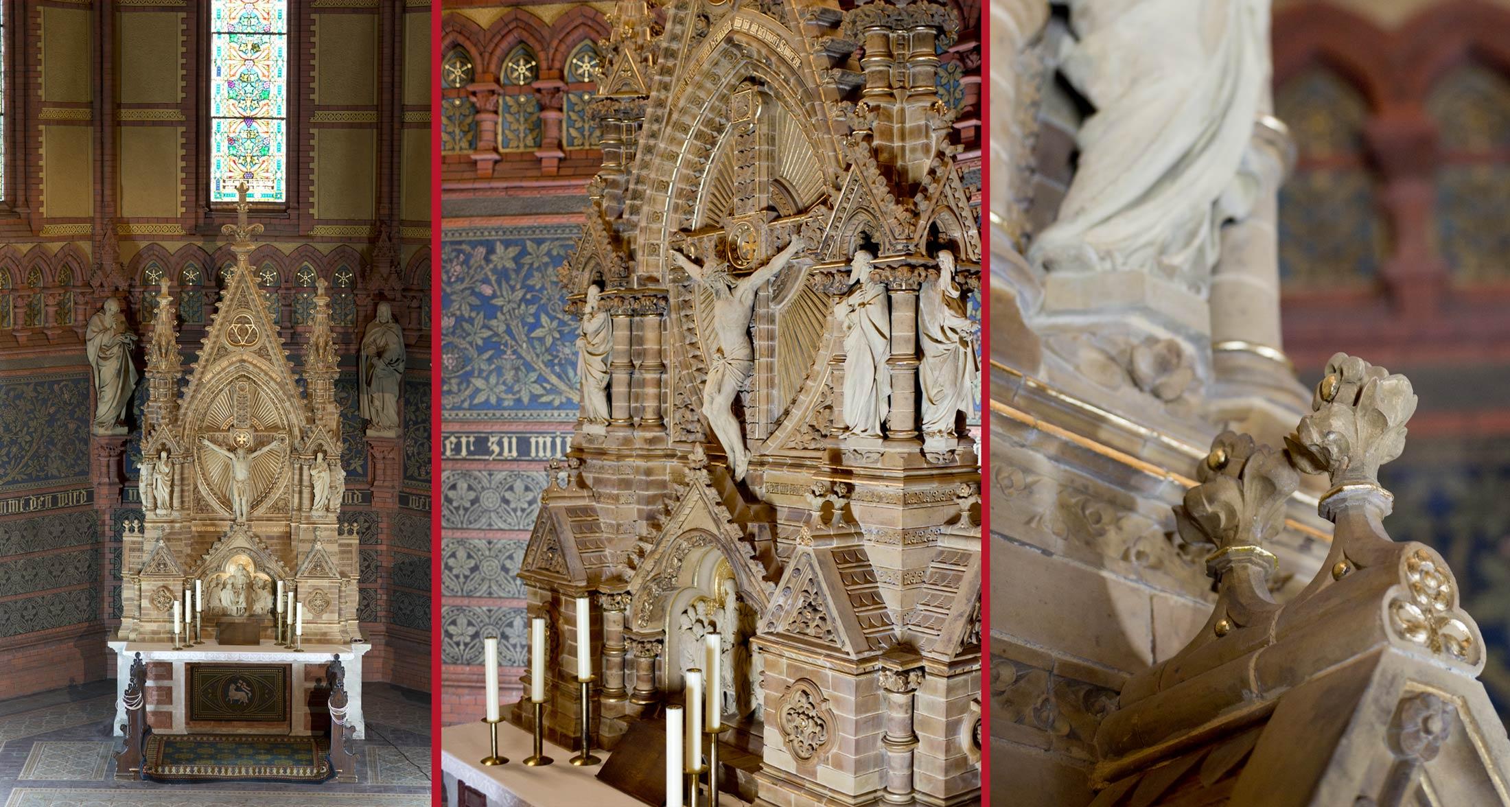 Gesamtansicht Altar im Schlusszustand, Zentrale Figurengruppe im Schlusszustand, Ergänzte Applikationen - Lutherkirche Apolda