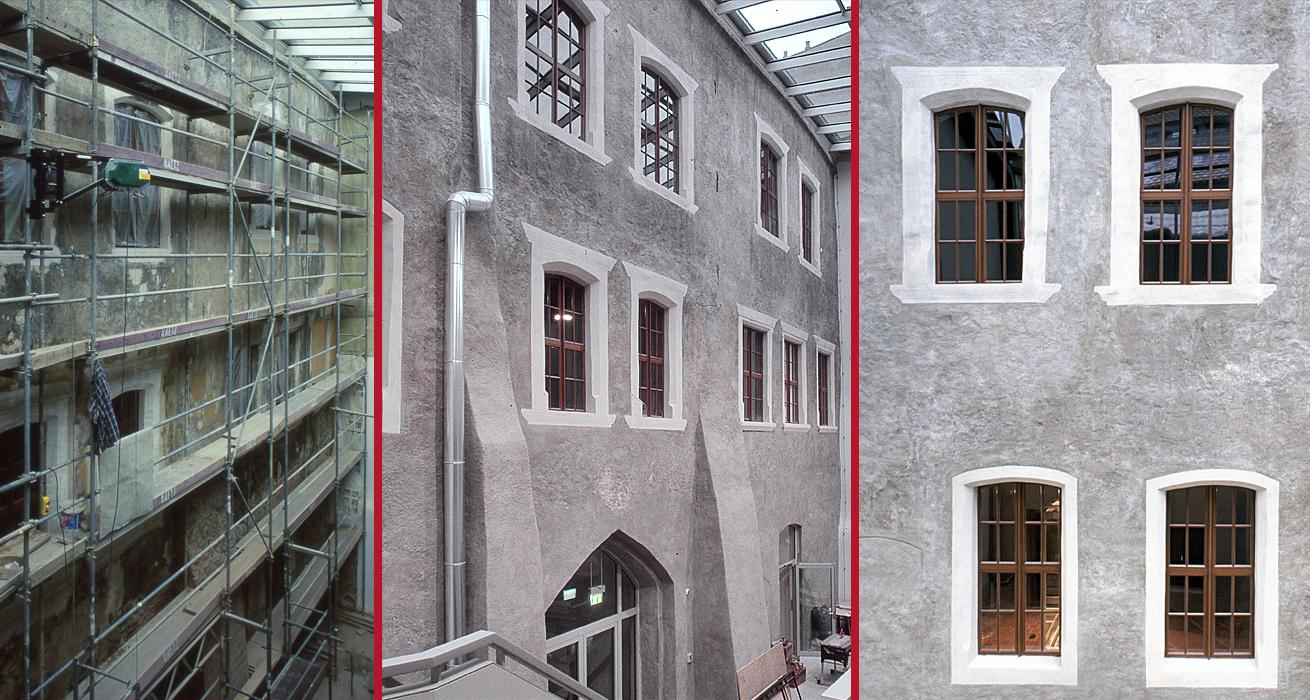 Übersichtsaufnahme im Vorzustand / Schlusszustand / Schlusszustand zweier Fensterachsen - Schlesisches Museum Schönhof Görlitz
