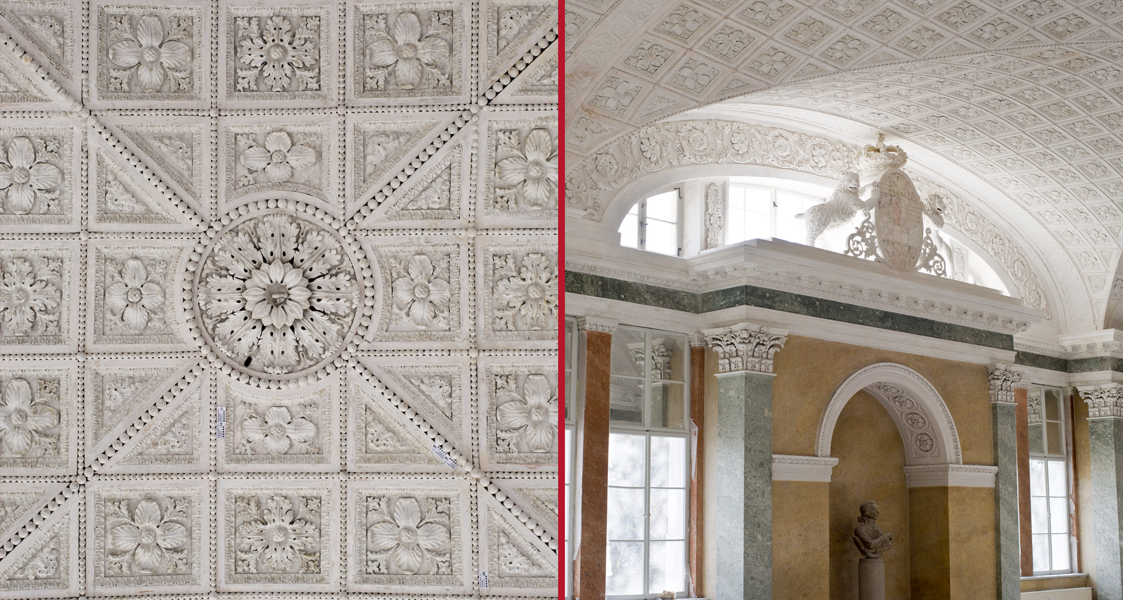 Zentrales Gliederungselement der Decke (links) Mittelrisalit (rechts)