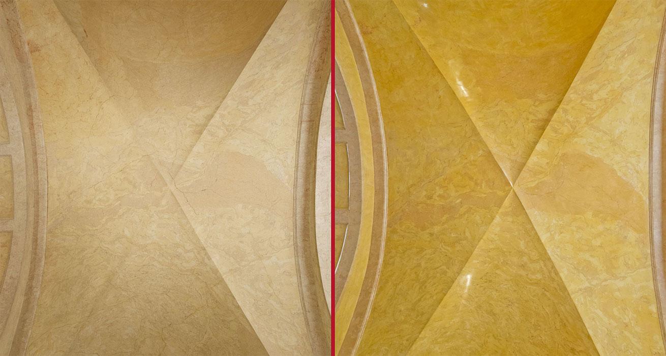 Südliches Gewölbe – Vorzustand (links) Schlusszustand (rechts)