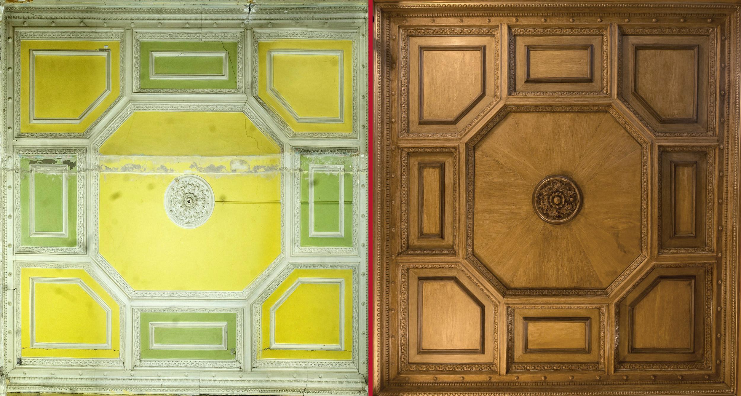 Decke im EG – Schlusszustand mit rekonstruierter Holzimitationsmalerei