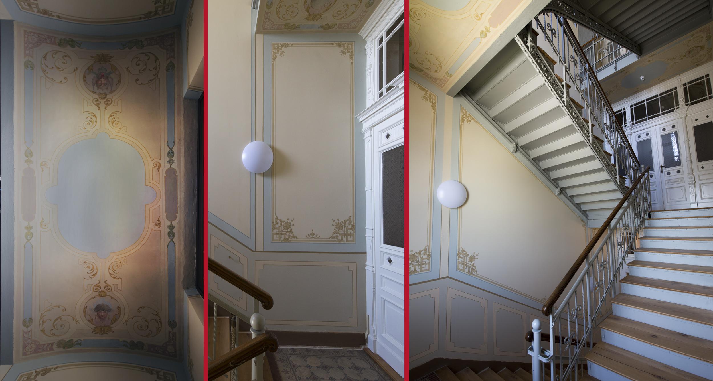 Treppenhaus im Nebengebäude mit restaurierten Podestuntersichten und rekonstruierten Wandflächen